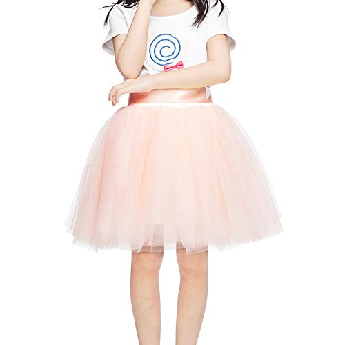 Girls Tulle Skirt 7 Layers Fluffy Tutu Skirts for Kids Princess Ballet Dance Birthday Party (Peach Pink) 3-10T -