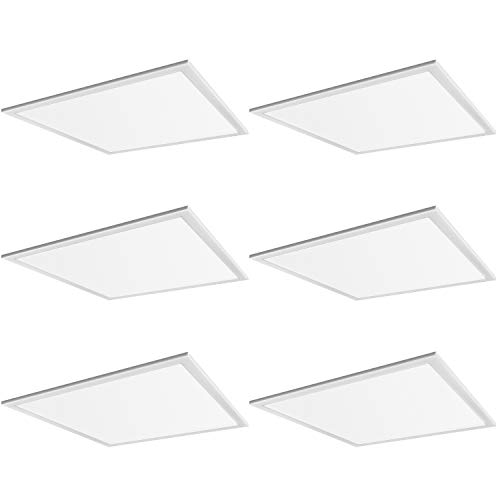Hykolity 2x2 FT Lay-in LED Troffer Panel Light, 4000K Cool White, 40W 5000lm Recessed Edge-Lit Troffer Flat Panel Light Fixture for Drop Ceiling, Repalce 2-Lamp T8 Fluorescent, 0-10V Dimmable, 6 Pack