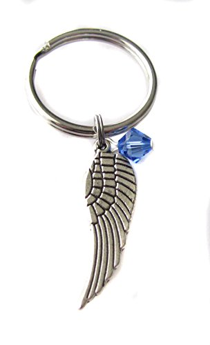 Price comparison product image September Sapphire Swarovski Birthstone Crystal Angel Wing Charm Keychain, Key Chain, Bag Charm Gift