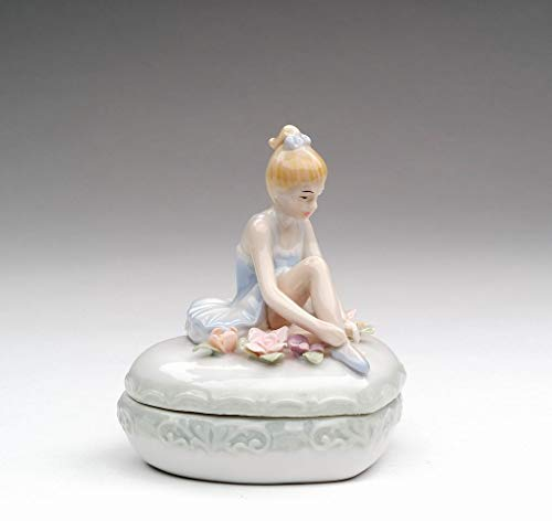 (Cosmos Gifts Fine Porcelain Ballerina Ballet Girl Ballet Dancer Tying Ballet Slipper Laces Trinket Box Figurine, 3-1/2