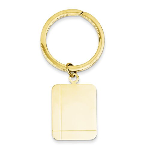 (FindingKing 14K Yellow Gold Engravable Rectangle Key)