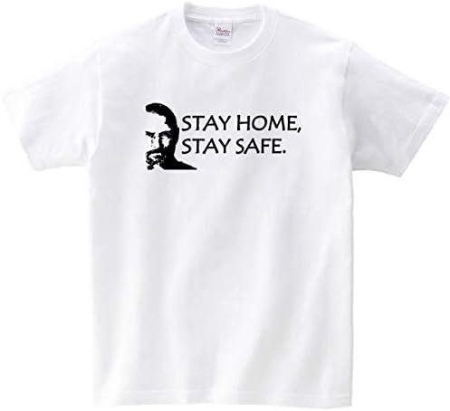 家にいよう! ウィルス感染防止・対策に 巣ごもり Tシャツ 「ステイホーム STAY HOME, STAY SAFE.」 ms81-15 XL ホワイト