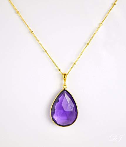 (Large Teardrop Purple Amethyst Quartz Pendant Necklace, Large Purple Amethyst Necklace, February Birthstone Necklace, 18x25mm Teardrop Pendant Necklace)
