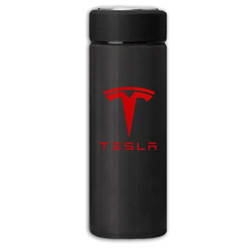LucyEve Vacuum Insulated Stainless Steel Water Bottle Tesla Auto Logo Frosted Fashion Beverage Bottle for Hot/Cold Drink Coffee Or Tea Black