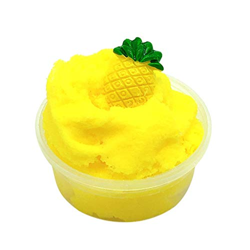 Yliquor Beautiful Pineapple Mud Fluffy Floam Slime Stress Relief Toy Ananas Scented Sludge Toys Gift for Children (A)]()