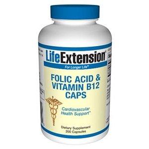 Acide folique Life Extension + B12 Capsules, 200-Count