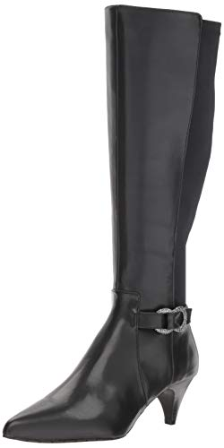 (Kenneth Cole REACTION Women's Kick Dress Knee High Stretch Boot Decorative Buckle, Black, 9.5 M US)