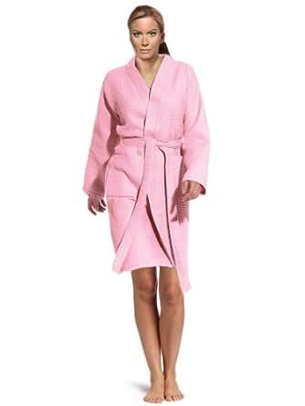 Lightweight Waffle Kimono Robe Spa Waffle Robe Light Waffle Bathrobe Shower Wrap (Long: Small / Medium Size, Light Pink)