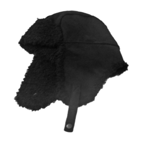 Fownes Womens Black Faux Suede & Sherpa Trapper Hat -