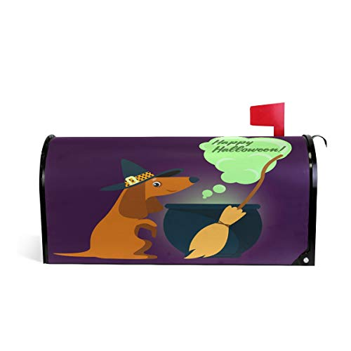 ALAZA Dachshund in Witch Costume Halloween Magnetic Mailbox Cover Oversized-25.5