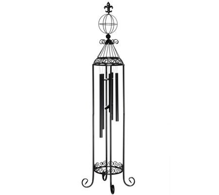 46 inch Freestanding Wind Chime with Decorative Scroll Work (Fleur De Lis Wind Chime)