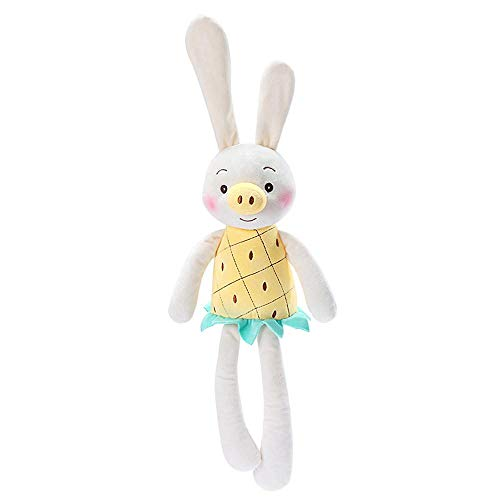 Baiwka Long-Legged Rabbit, Bunny Rabbit Soft Toy Large with Bell Sound, Cute Soft Pineapple Pig Rabbit Baby Comfortable Sleep Soothing Fake Pacifier, Birthday Gift for Children and Girlfriend (54cm) (List Of 2d Shapes In The Home)