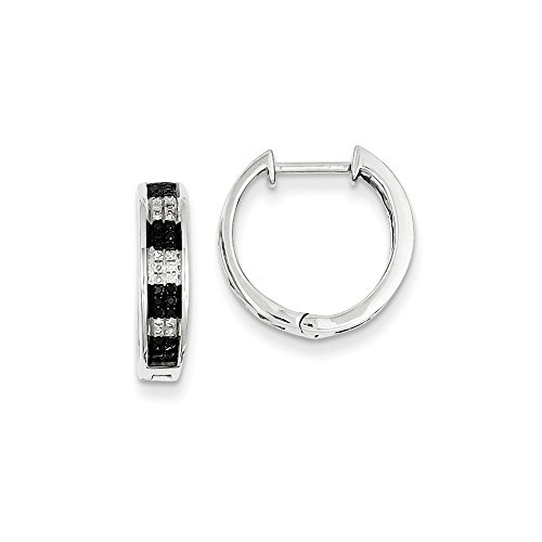 Sterling Silver Black & White Diamond Hoop Earrings by CoutureJewelers