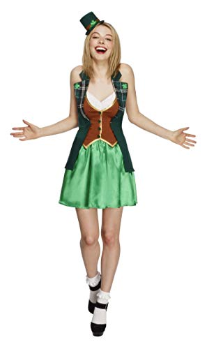 (Smiffys Women's Fever St Patricks Costume, Jacket, Skirt, Attached Underskirt and Mini Hat, Around the World, Fever, Size 10-12,)
