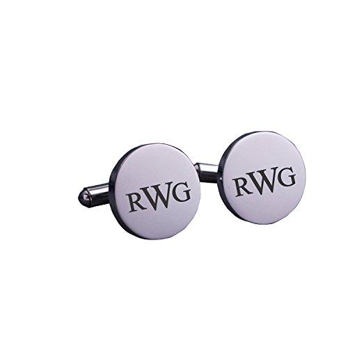 (Sahaa Personalized Sterling Silver Cufflinks For Men,Custom Made with Any Initials,Gift for Friend)