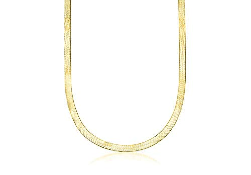 Verona Jewelers Sterling Silver 2.5MM, 3.3MM Italian Herringbone Flat Snake Magic Chain -Gold Plated Herringbone Chain Necklace, Gold Over Silver Necklace for Men and Women (22, 4.5MM)