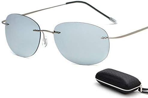 HeiPlaine Gafas de Sol de protección con Estuche Polarized Titanium Silhouette Gafas de Sol Polaroid Gafas Hombres Gafas de Sol Redondas Gafas de Sol ...
