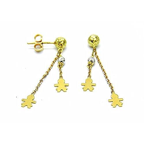 5cc0cdd4fc9b Mejor Pegaso Joyería – Pendientes oro amarillo 18 kt colgantes bicolor con  bebe  bimbe Niñas