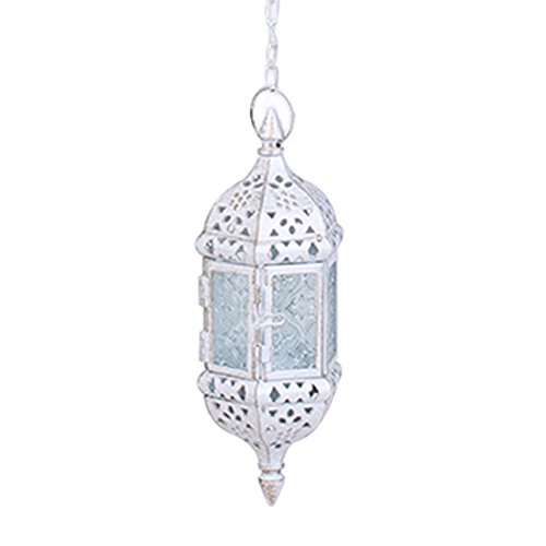 Asenart Hanging Candle Lantern Moroccan Chandelier Retro Candle Holder Moroccan Vintage Metal Hollow Wedding Hanging Candle Holders Lantern Contain 40cm Chain ()