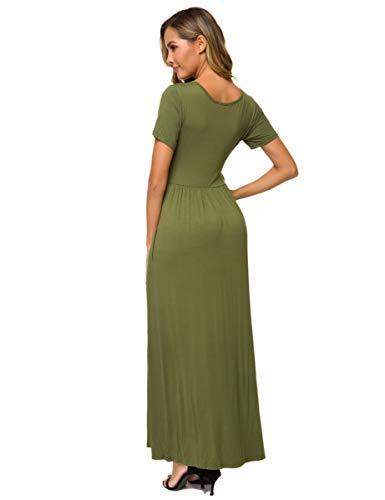 VEPKUL Maxi Dresses for Women Round Neck Plain Long Dress Empire-Waist with Pocket