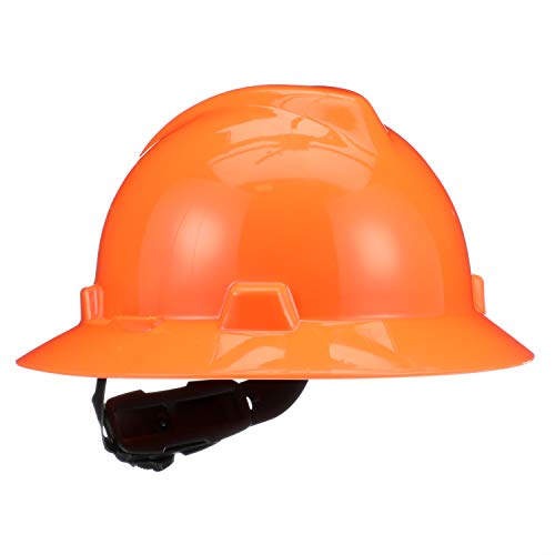 MSA (Mine Safety Appliances) 10021292 Hi-Viz V-Gard Class E, G Type I Polyethylene Non-Slotted Hard Hat with Fast-Track Suspension, Orange from MSA