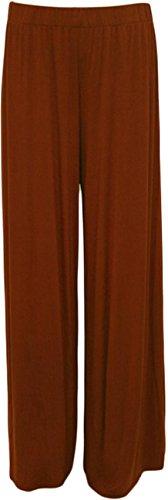 Pantalon Femmes Lisses Rouille Nouveaux Évasé Jambe 40 Large Bas 58 Plaine Grande Taille xawdtgS