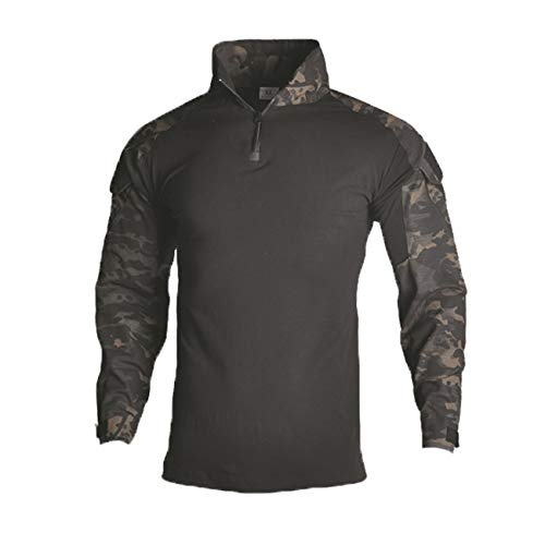 - Military Ba Men's Quick Dry UV Protection Breathable Long Sleeve Button Down Shirt-Dark Camouflage-US M(Chest:38 tag L)