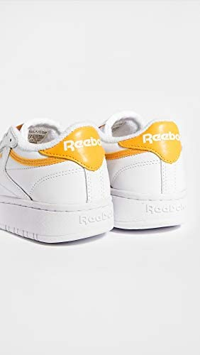 Reebok Women's Club C Double Lace Up Sneakers, White/Fierce Gold/White, 11 Medium US  pRQEB