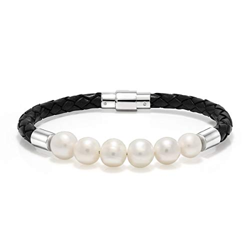 Gem Stone King 5.00mm Bolo Leather Braided Bracelet W/6 White Cultured Freshwater Pearls