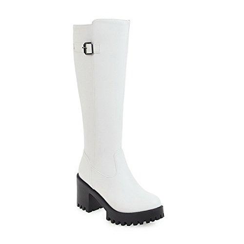 BalaMasa Womens Knee-High Zipper Metal Buckles Urethane Boots ABL10594 White Ld7Ki