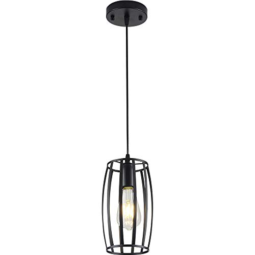 Single Light Metal Wire Cage Hanging Pendant Lighting(Bulb not Including),Black Finished,Rustic Chandelier Vintage Hanging,for Kitchen Island Dining Room Farmhouse Entryway Foyer Table Hallway
