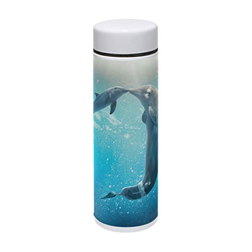 MAPOLO Kiss Dolphin Tale Stainless Steel Sports Water Bottle Vacuum Thermos Flask for Outdoors,Camping,Cycling,Fitness,Gym,Yoga - 220ml