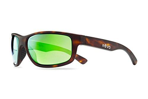 Revo Baseliner RE 1006 Polarized Wrap Sunglasses, Matte Dark Tortoise/Green Water, 61 - Color Revo