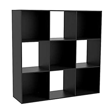 Dripex Wooden Bookcase 3 Tier Shelves 9 Cube Bookshelf Free Standing Storage Cabinet For Books Plants