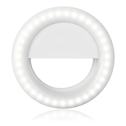 LOFTEK Selfie Light Ring,:33 LEDs Selfie Ring Flash with Long Lasting Lithium Battery, 3-Level Brightness LED Clip On for All Smartphones/Tablets, Perfect for Selfie and Live Video,White