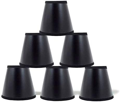 Urbanest Set of 6 Black Parchment Chandelier Lamp Shades with Gold Paper Liner 5-inch, Clip On