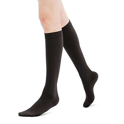 Fytto 1020 Women's Compression Socks, Opaque 15-20mmHg Hosiery, Flight Stockings - Smooth-Knit Professional Support for Business & Travel, Black, -