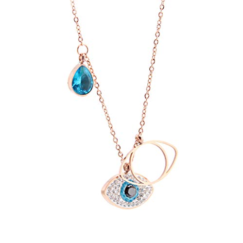 - Inf-way Evil Eye Necklace, Rose Gold Angle Eyes Blue Crystal Pendant for Women Gifts
