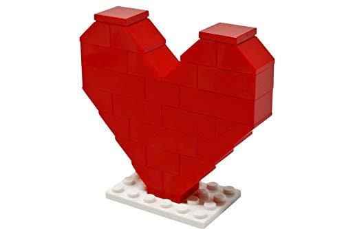 LEGO Red Heart with White Stand - Minifigura de amor romántico personalizado para el Día de la Madre o San Valentín