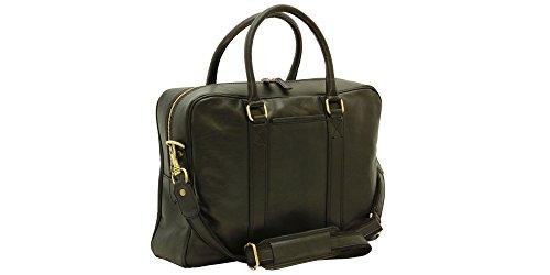 Anglers Briefcase Bag (Handmade Italian Soft Calfskin Leather Briefcase (Black))