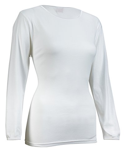 Rosette Women's Long Sleeve Undershirt, Smooth and Seamless, 100% Cotton, Small, White