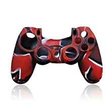 Flexible Soft Silicone Protective Skin Case For Sony PlayStation 4 PS4 Controller Camouflage Red