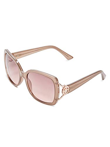 Gold Guess Sunglasses - GUESS Womens GF6065 Shiny Milky Beige With Rose Gold/Brown To Pink Gradient Lens One Size
