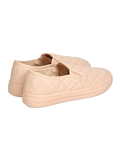 Qupid FI28 Women Leatherette Quilted Slip on Sneaker - Nude WiqmCEvG