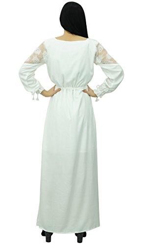 Bimba Frauen Sommer Boho Full Sleeve Langes Maxi Kleid Casual Slit Dress Weiß O4zxNTa