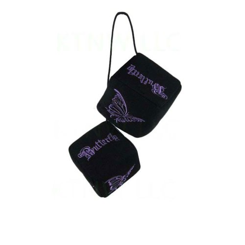 Polyester Auto Dice Rear View Mirror Ornament - Purple Butterfly -