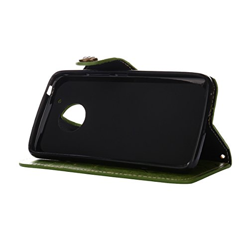MEIRISHUN Leather Wallet Case Cover Carcasa Funda con Ranura de Tarjeta Cierre Magnético y función de soporte para Motorola Moto G5 Plus - Rosado Verde
