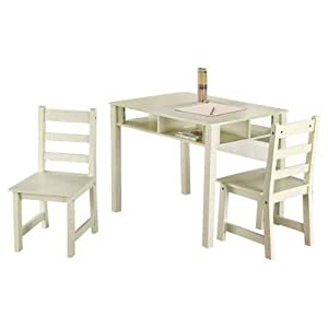 TMS 3-Piece Kids Table with Chairs Set, Antique White
