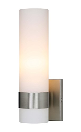 Ada Wall Light - Wall Light ADA Wall Sconce with Opal Cylinder Glass in Brushed Nickel, Bathroom Vanity Light with GU24 Bulb Suitable for Living Room & Corridor XiNBEi-Lighting XB-W1185-BN