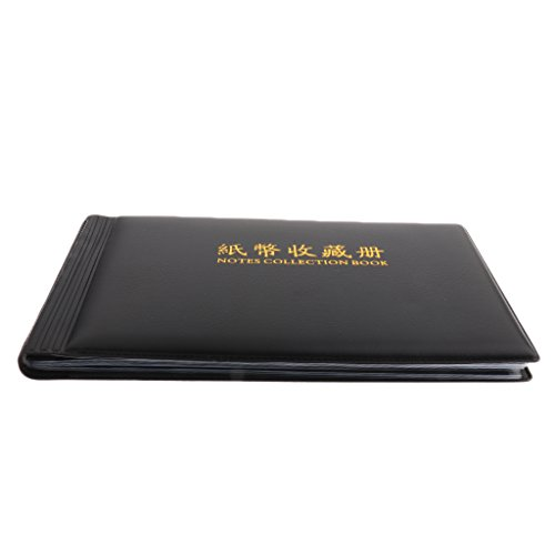 MagiDeal Banknote Currency Collection Album Paper Money Pocket Holders Cash Collecting 30 Pages Black